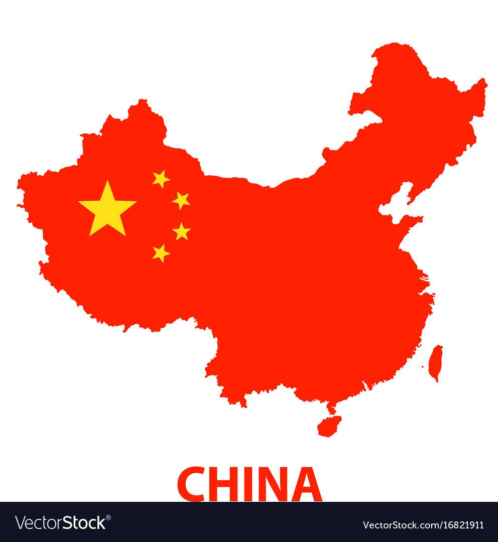 The Detailed Map Of The China With Flag Vector Image On Vectorstock In 2020 Flag Vector Detailed Map China Map