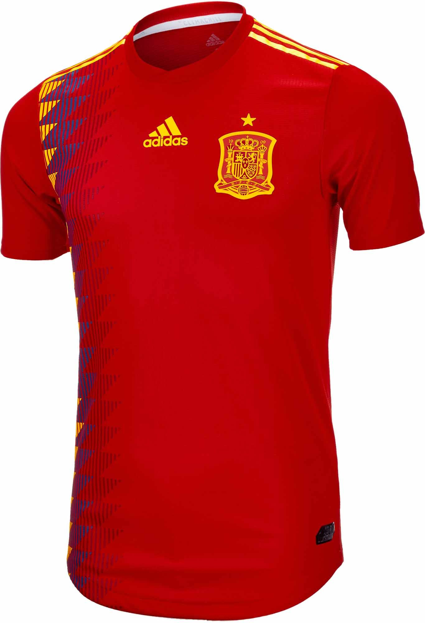 be9d8e19709 Buy the 2018/19 adidas Spain authentic home jersey from SoccerPro today!