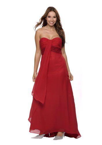 Langes Abendkleid im Empire Stil, Gr.46, Farbe rot ...