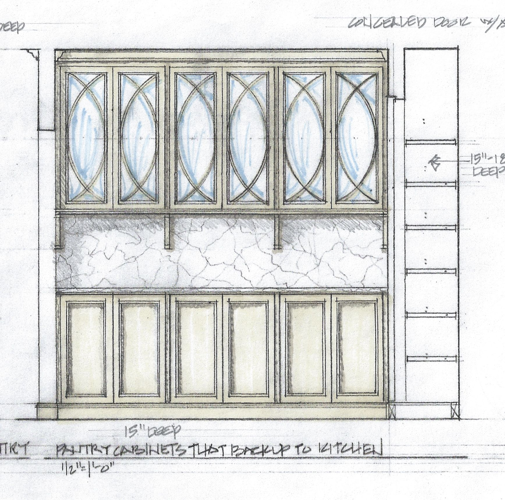 Pantry Cabinet Elevation, Custom Glass Front Upper