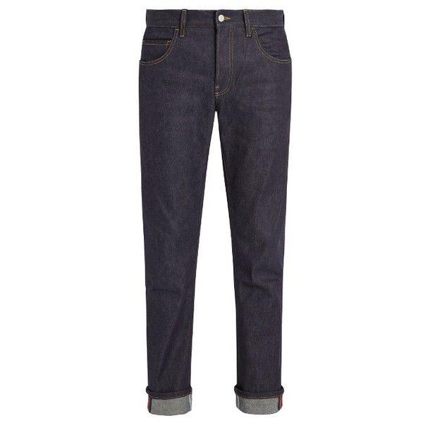 Straight-leg stretch-denim Web jeans Gucci 7va11l