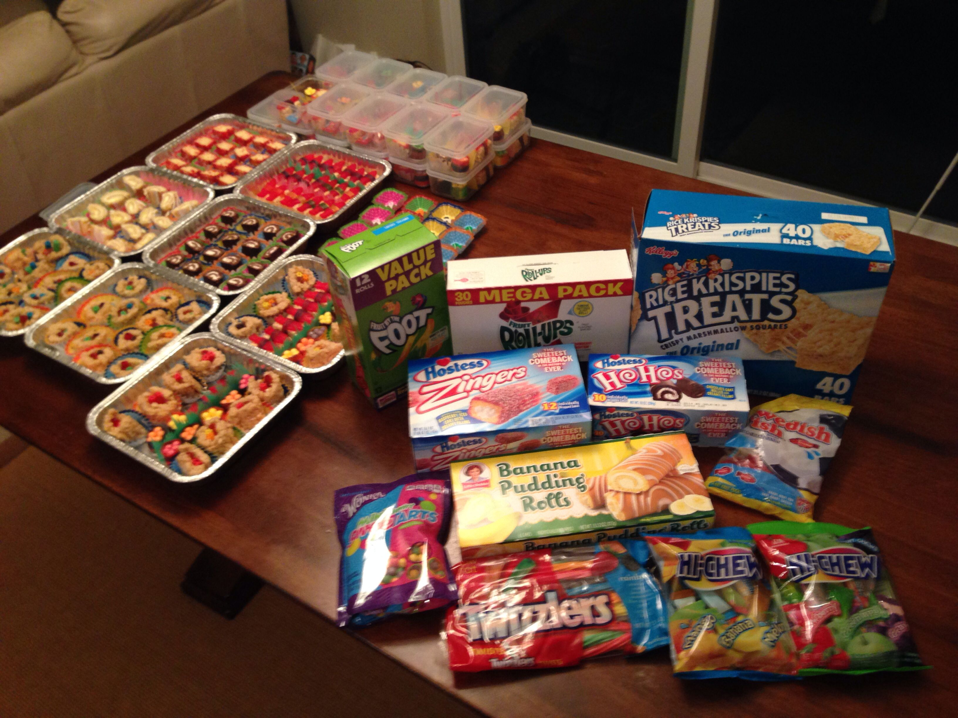 All of the ingredients (plus marshmallows) purchased to make the full candy sushi trays and takeout boxes. #candysushi