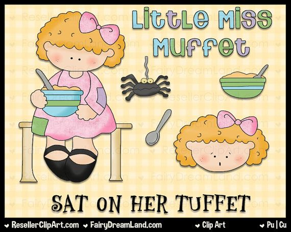 Little Miss Muffet Digital Clip Art - Commercial Use Graphic Image ...