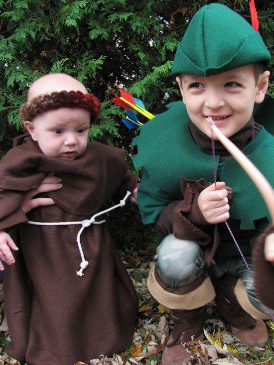 31a1eab5398 DIY Handmade kids Robin Hood and Friar Tuck Halloween costumes ...