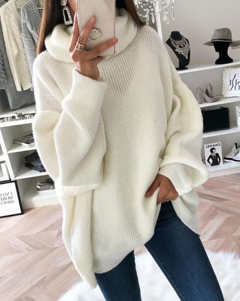 High Neck Lantern Sleeve Sweater P12278, White / S
