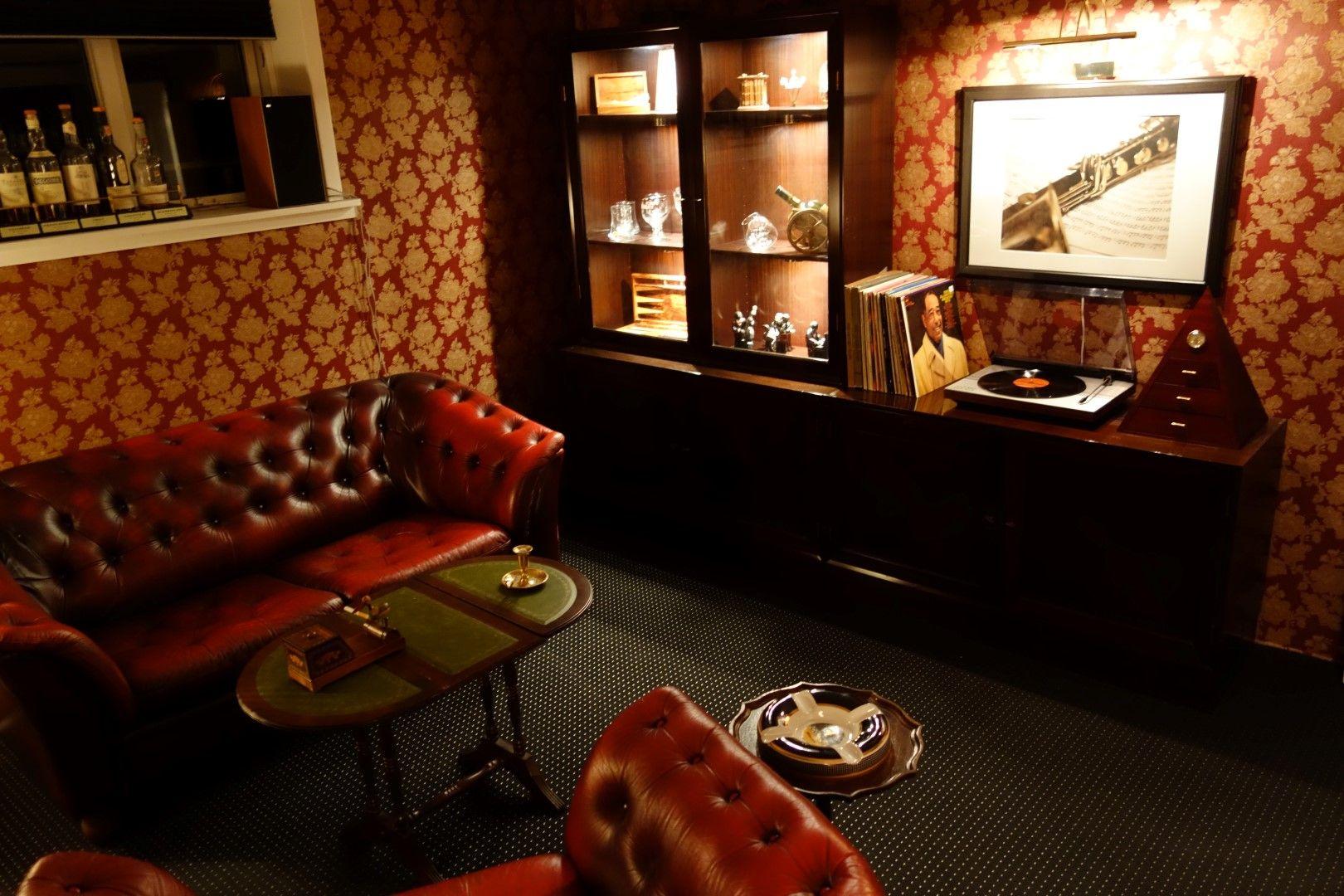 Blue dress and cigar lounge