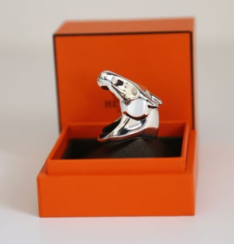 BNIB Authentic Hermes Galop Sterling Silver ring equestion ...