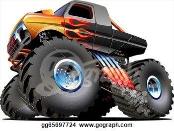cartoon drawing of truck driving drawing cartoon monster truck