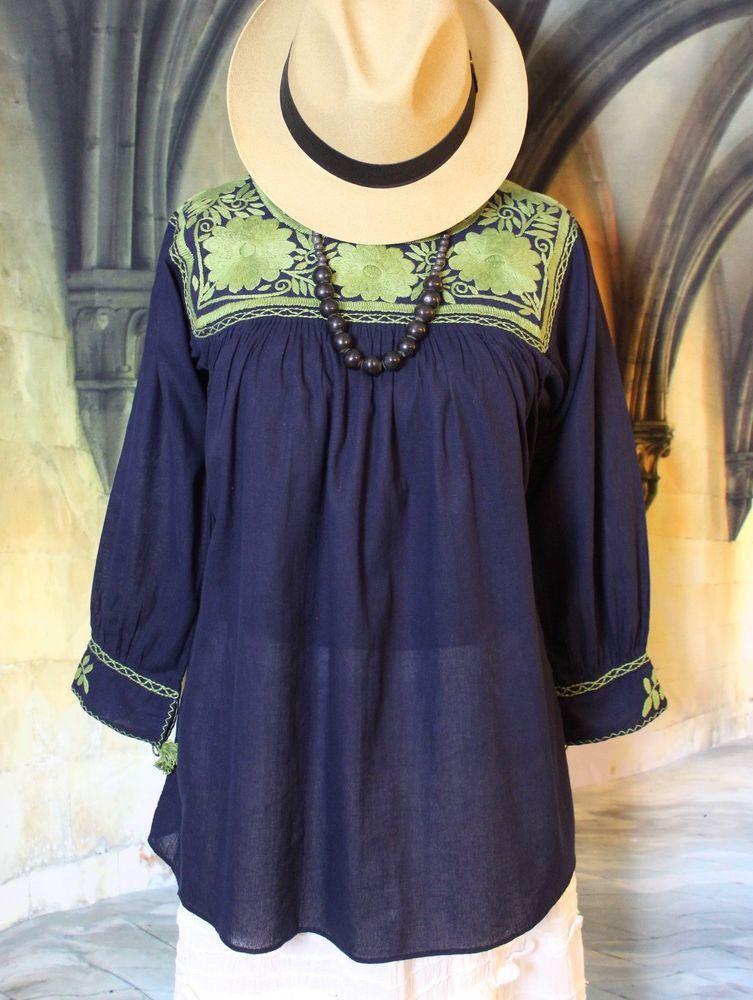 0fbca69a95c94 Mexican Peasant Blouse Navy Blue   Green Hand Embroidered Cotton Chiapas  Hippie  Handmade  blouse