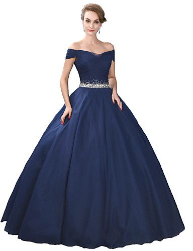Formal Evening Dress Ball Gown Off-the-shoulder Floor-length Satin ...