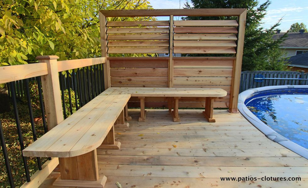 Banc de coin pour patio de piscine hors terre brunelle 3 for Patio exterieur arriere