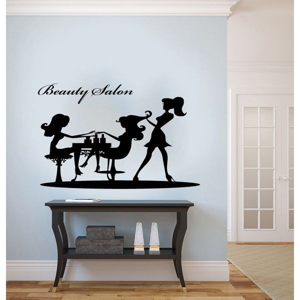 Beauty Salon Graceful Woman Silhouette Vinyl Wall Decal Hair - How to make vinyl wall decals with silhouette