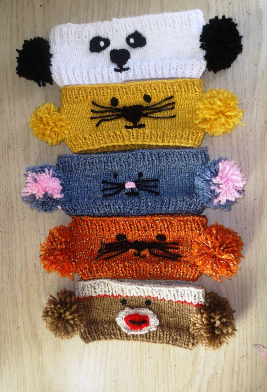 PDF Knitting Pattern Pom-Pom Animal Headwarmers Lion, Tiger Cat ...