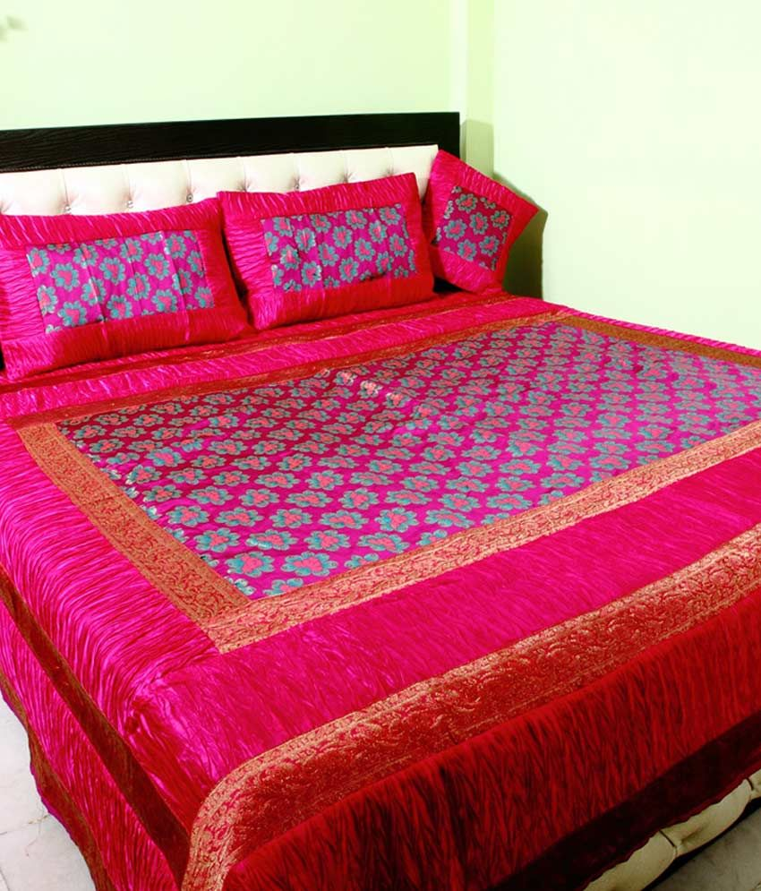 Bed sheets for wedding - Shiva Solutions Pink Traditional Blends 1 Double Bed Sheet With 4 Pillow Covers