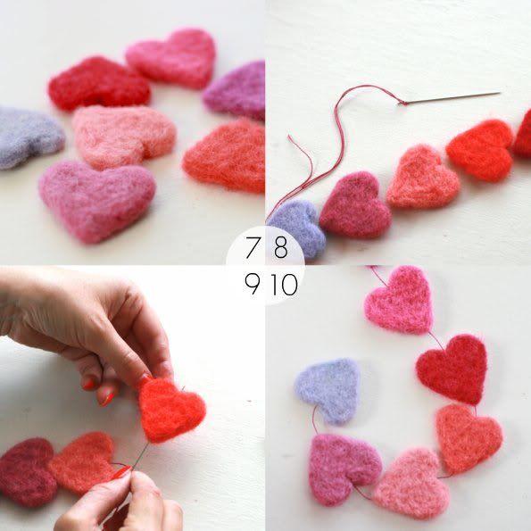 How To: Needle Felt Heart Garland   My Poppet Make