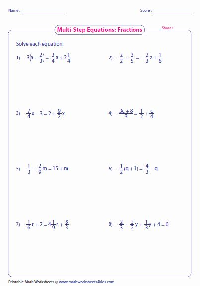 2 Step Equations Worksheet Lovely Multi Step Equation Worksheets In 2020 Multi Step Equations Two Step Equations Multi Step Equations Worksheets