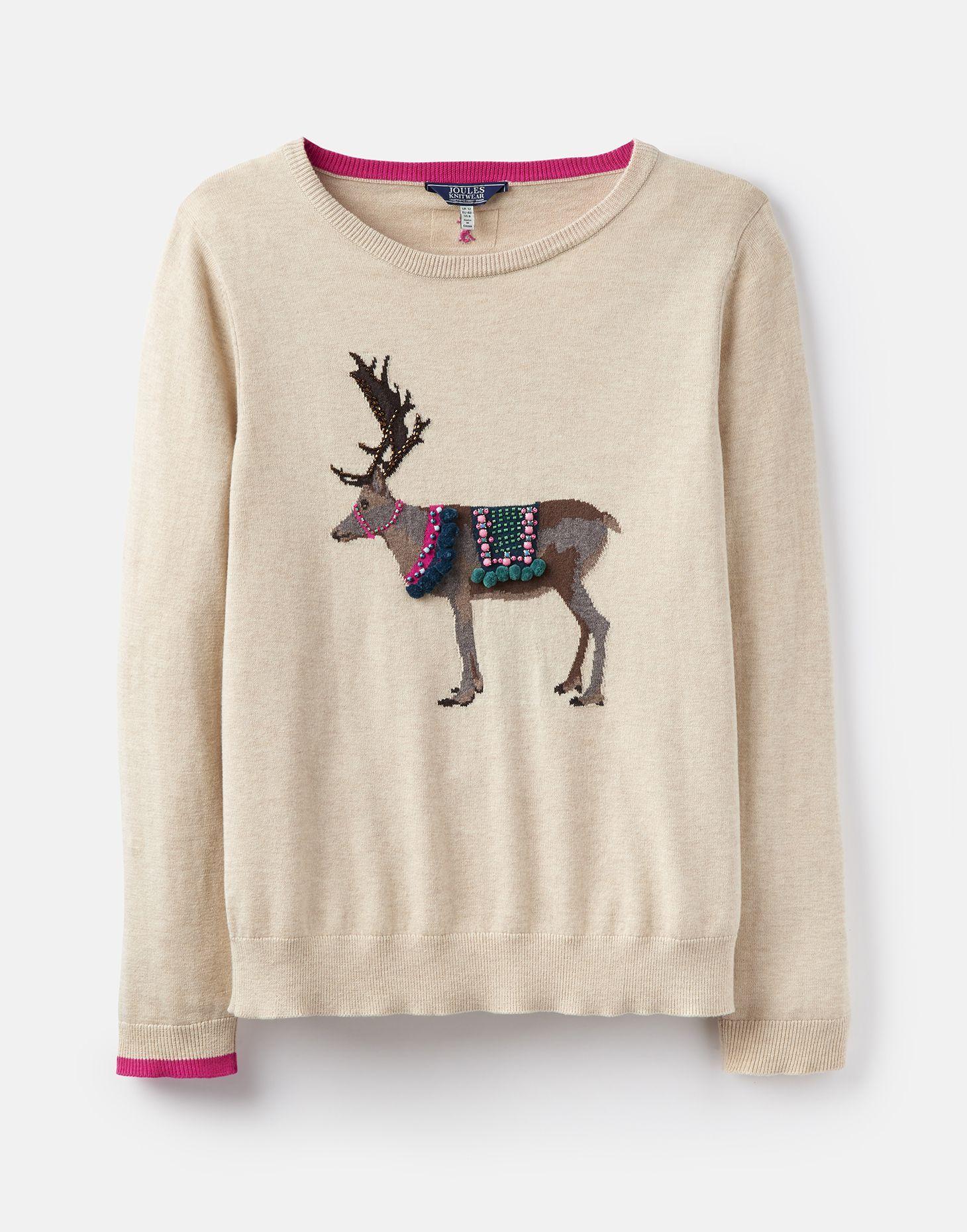 Festive Luxe Oat Reindeer Intarsia Jumper Joules Us Sweaters For Women Sweaters Jumper [ 1860 x 1460 Pixel ]