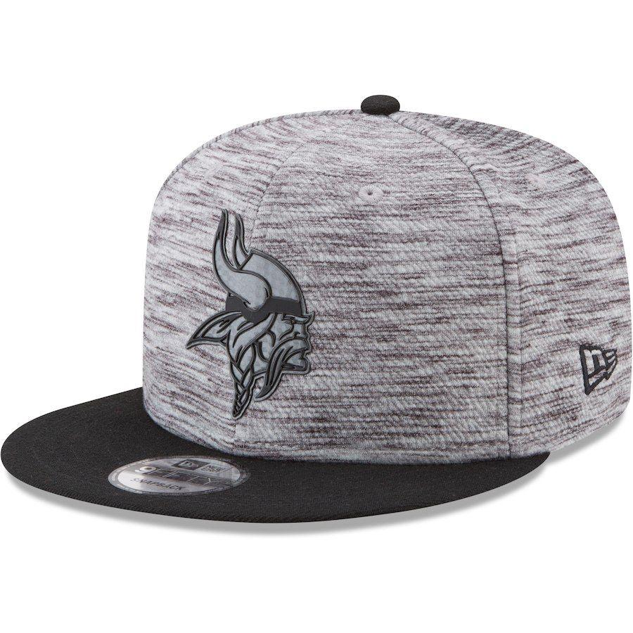Men s Minnesota Vikings New Era Gray Black Heather Flash Snap 9FIFTY  Adjustable Hat adcca1c61