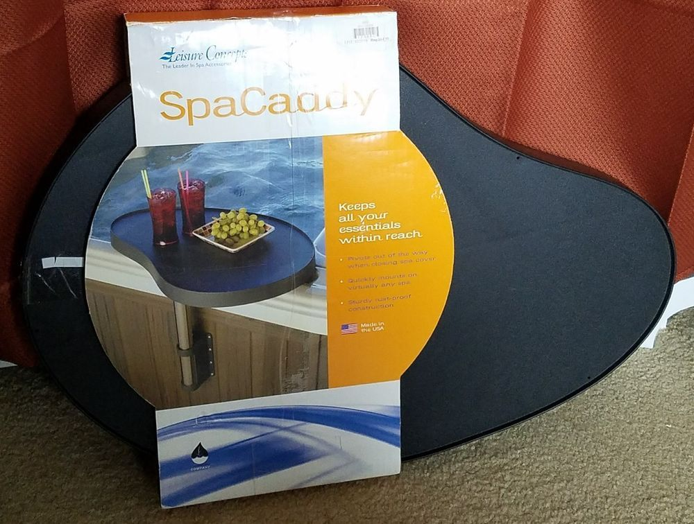 Leisure Concepts Spa Caddy Swivel Side Table Tray For Hot Tub Black