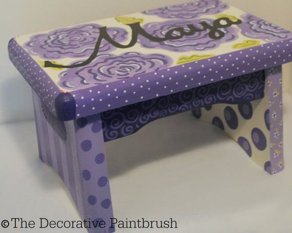 Groovy Painted Stool Childs Foot Stool By Thedecorativebrush On Machost Co Dining Chair Design Ideas Machostcouk
