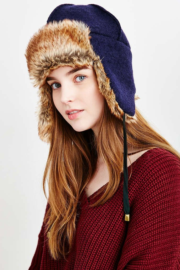 00382ce1595 Boiled Wool Faux Fur Lined Trapper Hat - Urban Outfitters ...