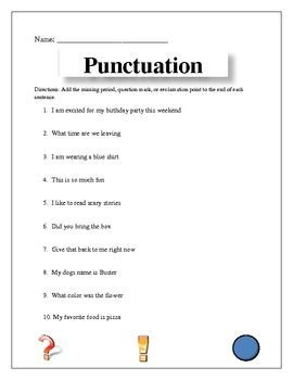 End Punctuation   Third grade, Worksheets and Punctuation