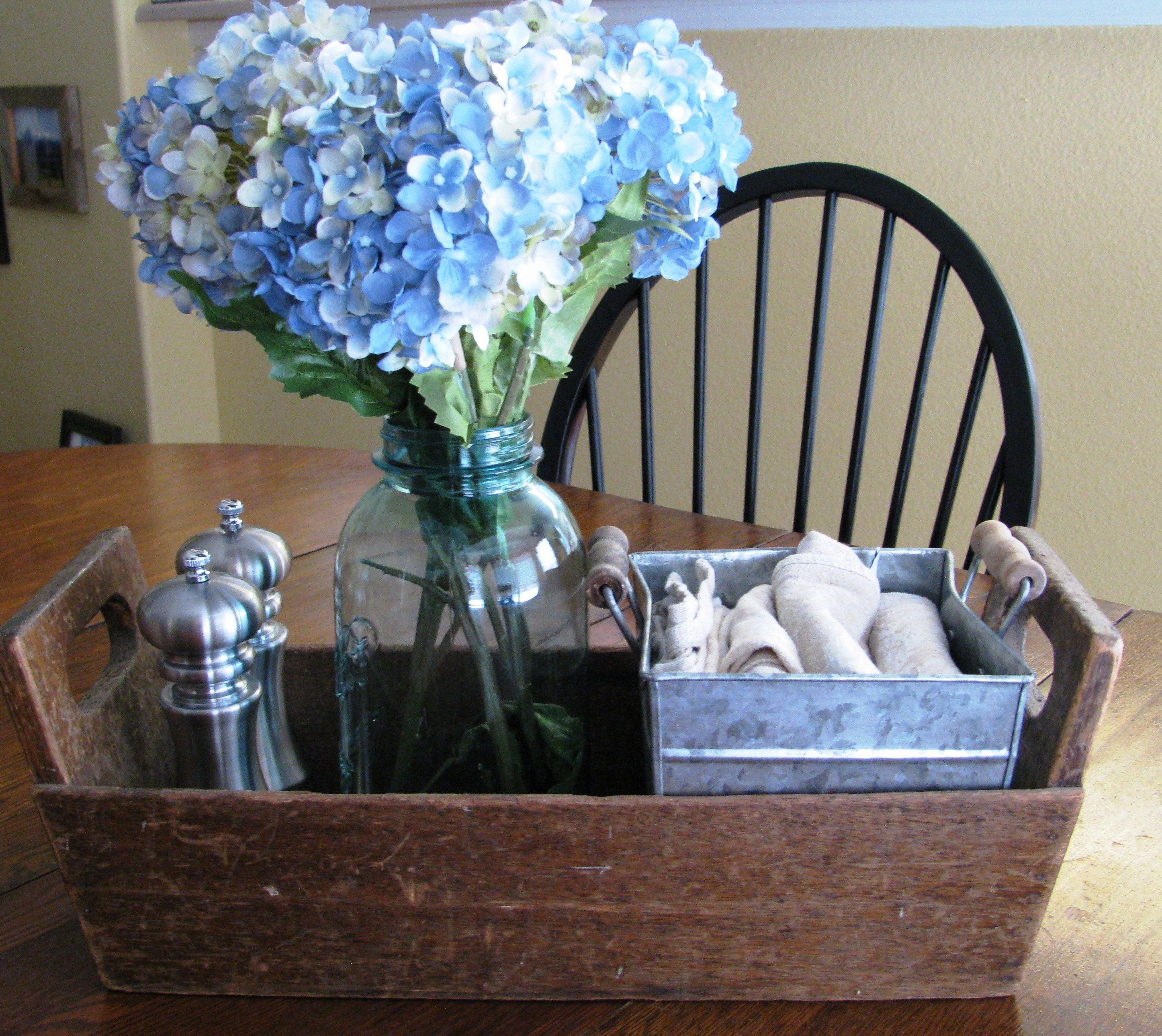 Simple Dining Table Centerpiece With Salt Pepper Cloth Napkins And A Flower Arrangement My