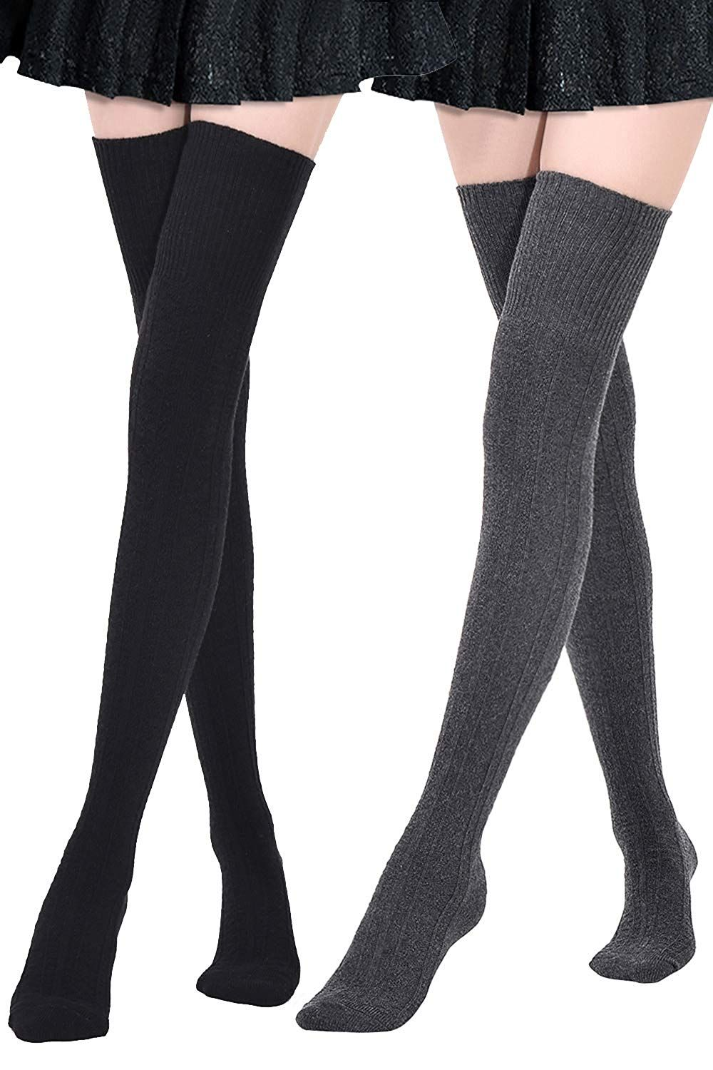 fb5341938e1 Kayhoma Extra Long Cotton Thigh High Socks Over the Knee High Boot Stockings  Cotton Leg Warmers
