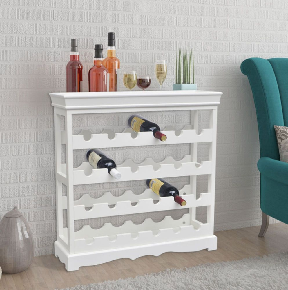 White Wine Rack Shabby Chic Wooden Cabinet Bottles Storage Holder Kitchen Bar