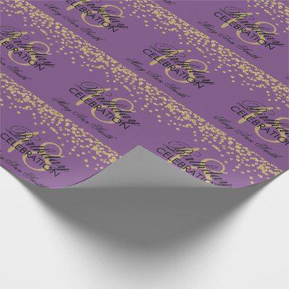 18th Birthday Gold Faux Glitter Confetti Purple Wrapping Paper - confeti