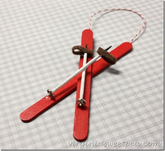 Popsicle Stick Ski Ornament | Christmas ornament, Ornament and Crafty