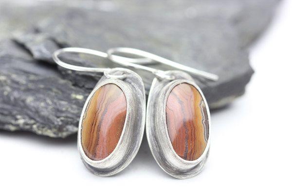 Dryhead Custom Color Agate Sterling Silver Earrings, Orange, Pink, Red, Brown, Stunning Gemstones Drop Jewelry