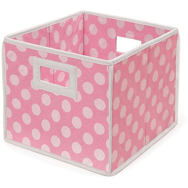Unique Design Storage Bins,Stylish Containers Baskets| Two Plastic Handles Collapsible Cubes Household Organization |for Nursery or Offices Gift Boxes,Strong Beautiful Tote 6 Pack Polka Pattern