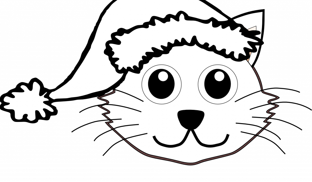 View Full Size Christmas Santa Hat Coloring Page With Free Cartoon Christmas Vector Black And White Free Cl Cat Coloring Page Cat Coloring Coloring Pages Cat