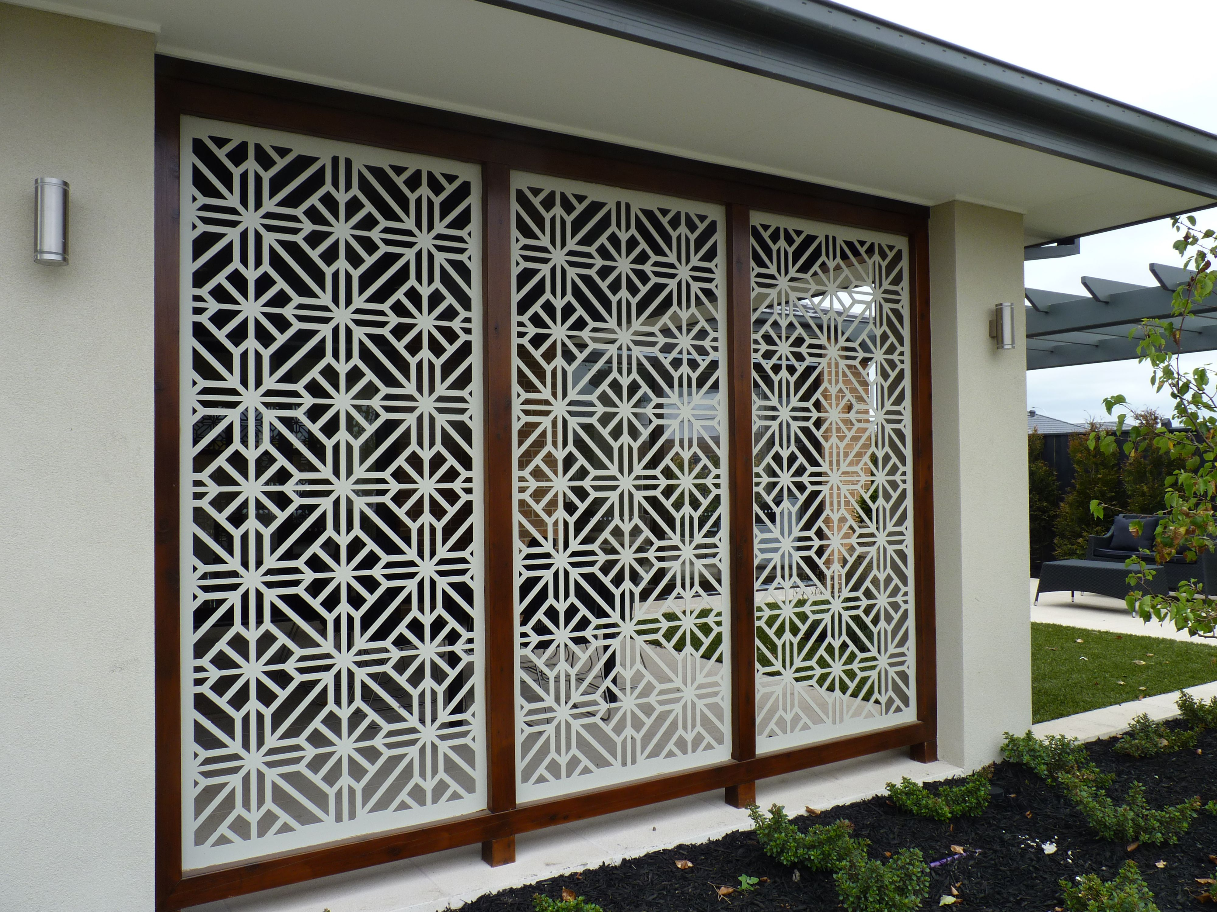 a gorgeous installation of the qaq decorative screen design washington cut in mild steel - Decorative Screens