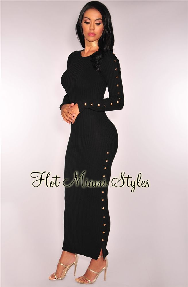 526f09c6 Black Ribbed Knit Button Up Maxi Dress Womens clothing clothes hot miami  styles hotmiamistyles hotmiamistyles.com sexy club wear evening clubwear  cocktail ...