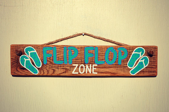 Flip Flop Zone Reclaimed Wood Hanging Sign - Rustic Wall Decor with ...