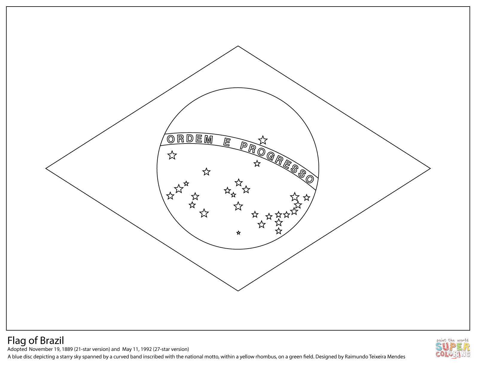 Brazil Flag Coloring Page Flag Coloring Pages Brazil Flag American Flag Coloring Page