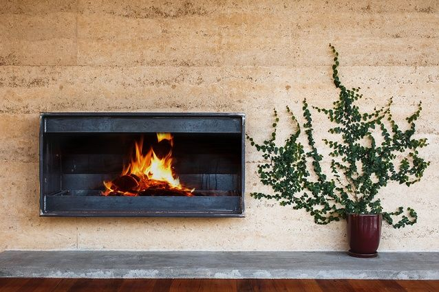 Rammed Earth | Open Fire Place | fire place | Pinterest | Camini ...