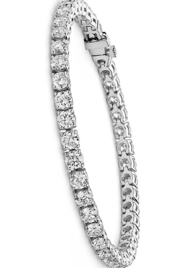 Flash Some Brilliance With This Breathtaking 10 Carat Tennis Bracelet Showcasing Dazzling Round Diamonds G Set In Complementing 18k White Gold
