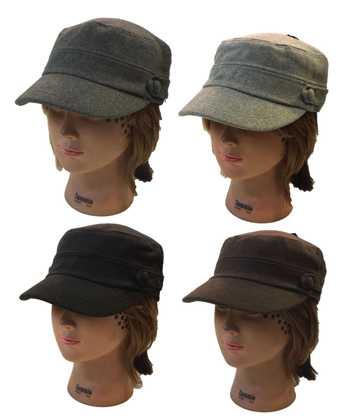 Ladies Men Cadet Box Cap Army Military Fashion Castro Wool Hat Cap ... e7f0986aa4