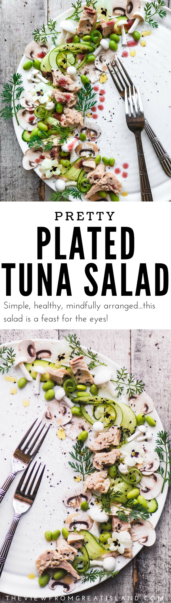 This Pretty Plated Tuna Salad is a fun reminder that the simplest foods can provide a feast for all the senses. Make this elegant salad for a brunch, luncheon, shower, or just because. #tuna #cannedtuna #tunasalad #salad #plating #presentation #brunch, #mothersdayrecipe #easterrecipe #valentinesdayrecipe #showerrecipe #mothersdaybrunch #genova #seafood #healthy #glutenfree #paleo #whole30 #lowcarb #weightwatchers