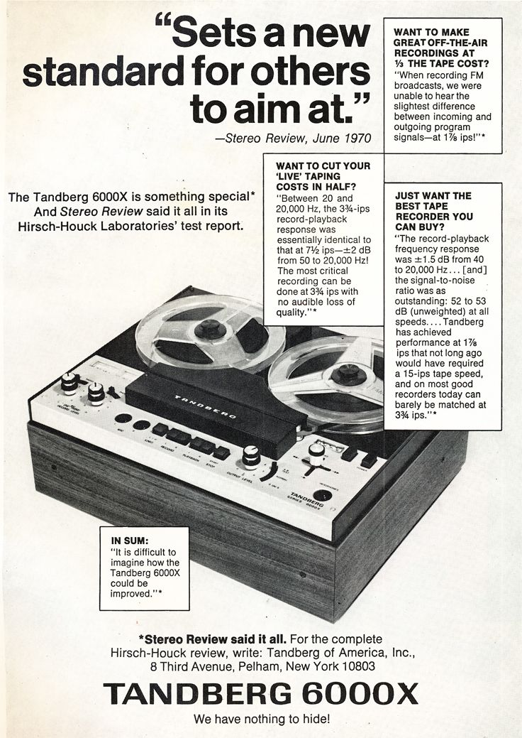 1971 ad for the Tandberg 6000X reel to reel tape recorder in