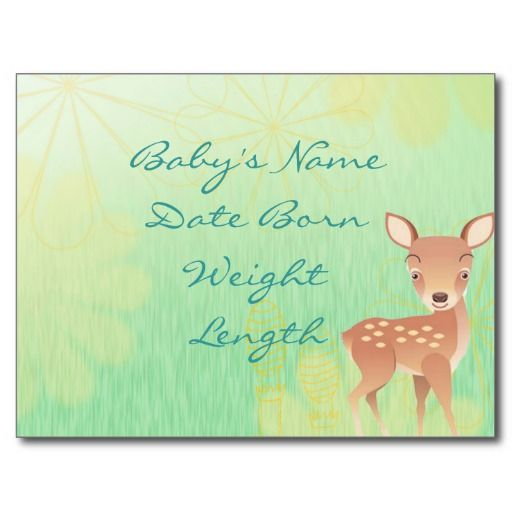 Baby Announcement Baby Deer Spring Background Postcard My Zazzle
