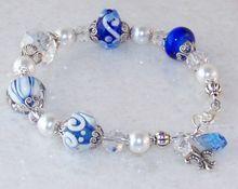 Sterling Silver Artisan Handmade Lampwork Glass Fleur De Lis, Swarovski Crystal Charm Bracelet- Cobalt Blue- Artisan Jewelry Gift for Her