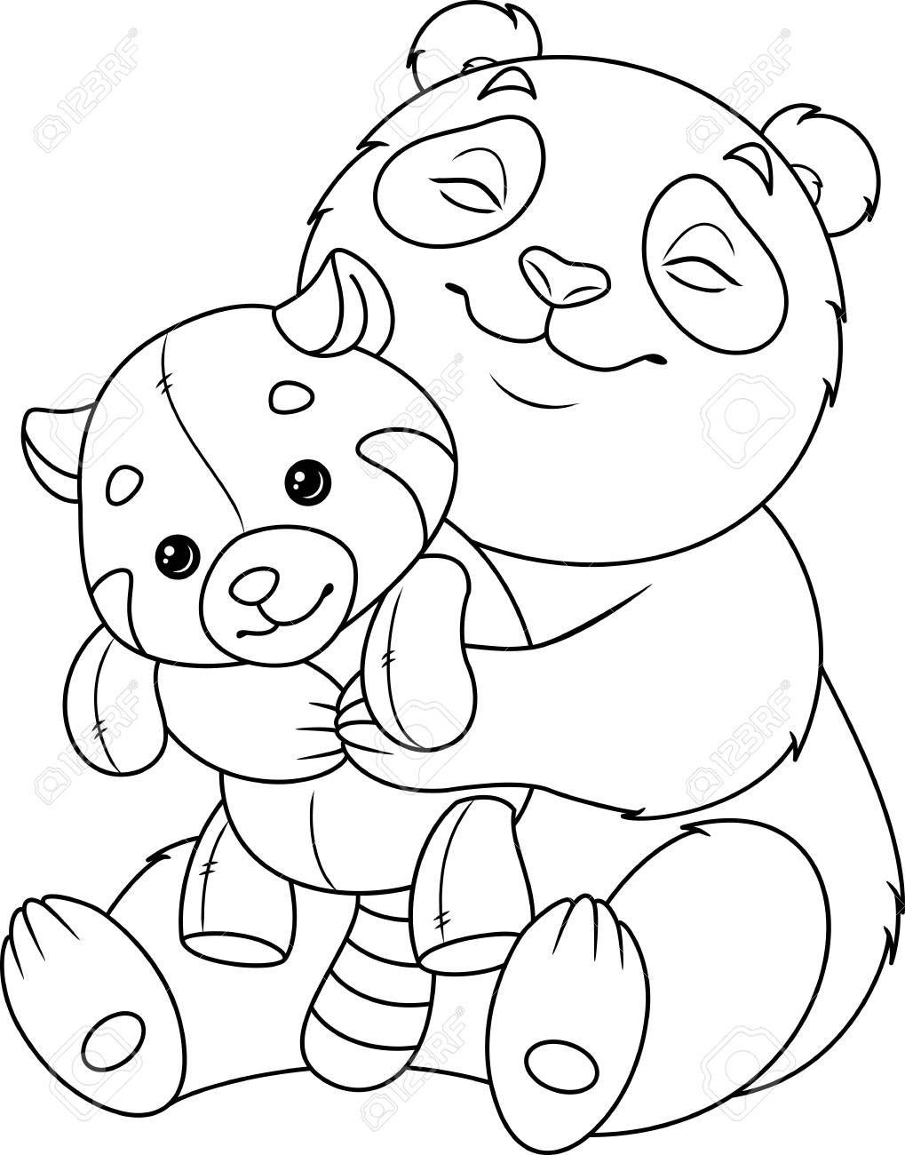 Panda hugs red panda coloring page , #SPONSORED, #red, # ...