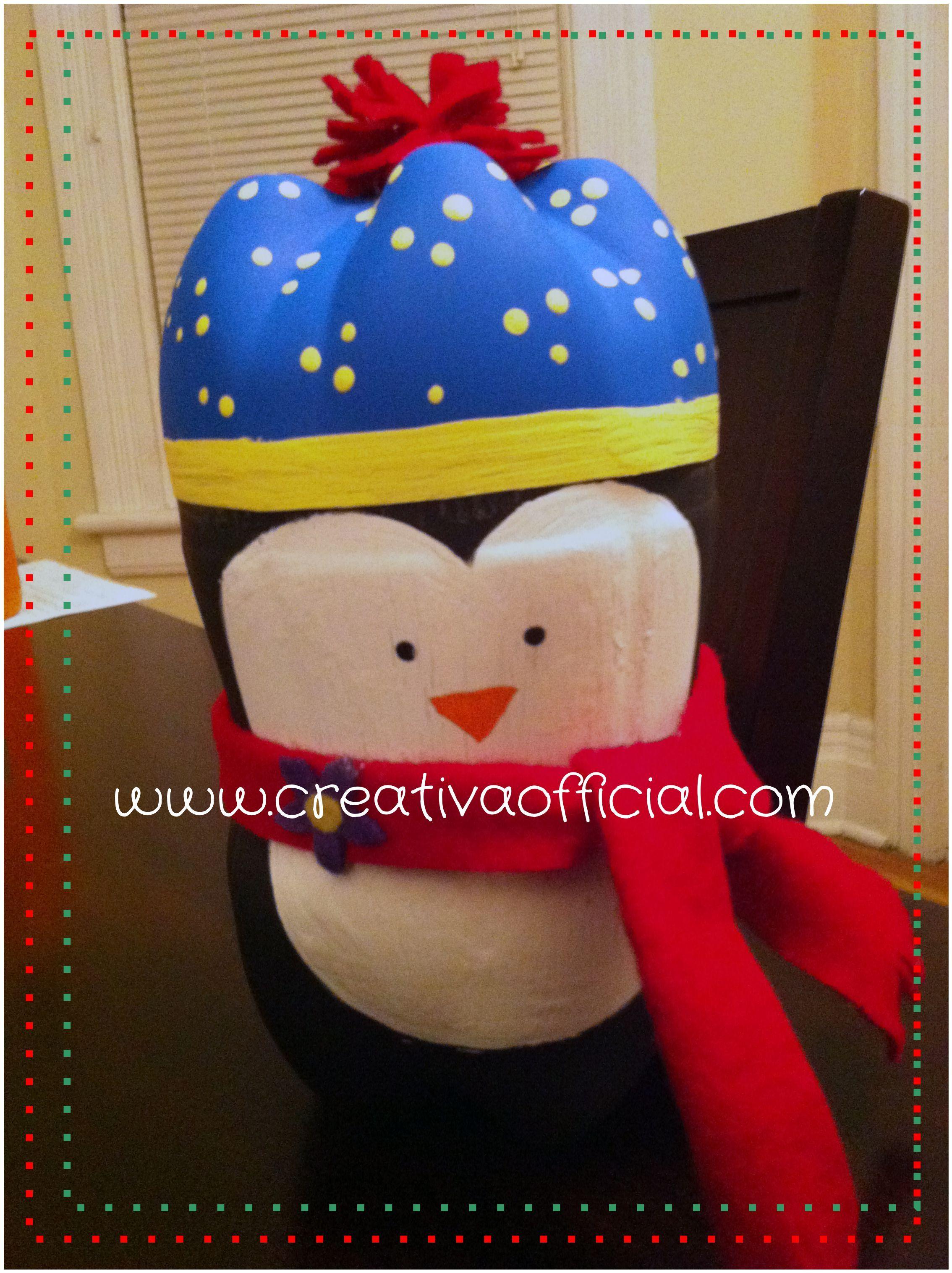 Crea este hermoso pingüino para decorar tu hogar o como dulcero en ...
