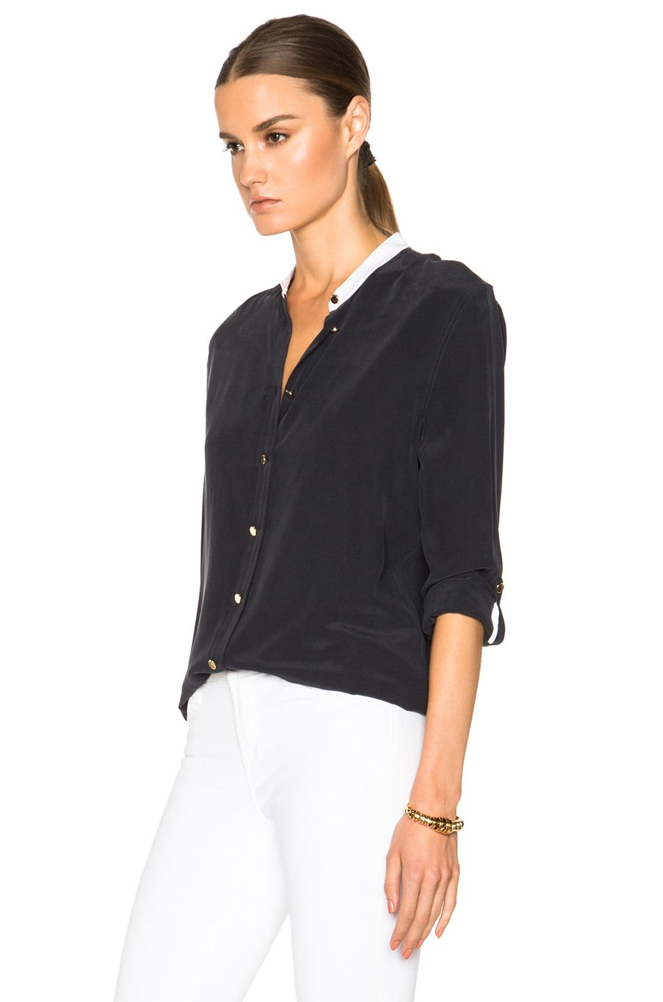 Image 2 of Equipment Collarless Reese Top in Ink