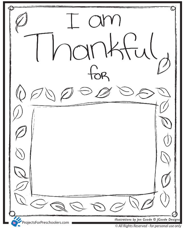 Thanksgiving Preschool I Am Thankful Coloring Page