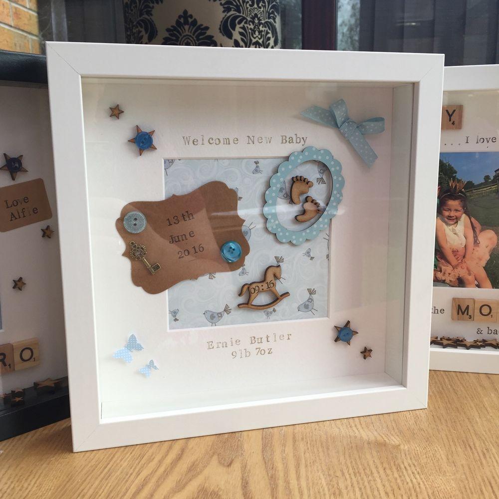 New Baby Birth Personalised Keepsake Photo Frame Boy //Girl Baby Gift